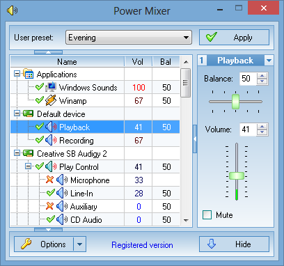 Volume control replacement - Main window of Power Mixer