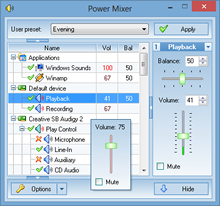 Windows audio mixer - Power Mixer features